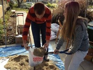 scooping sand
